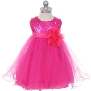 Baby girls party/formal dress fuchsia Small